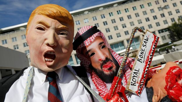 Activists dressed as US president Donald Trump and Saudi crown prince Mohammad bin Salman in Washington. Photograph: Kevin Lamarque/Reuters