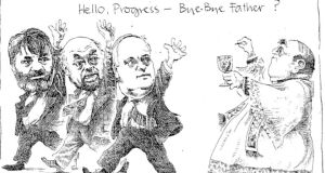 "Wendy Shea's cartoon depicted politicians John Bruton, Proinsias de Rossa and Ruairi Quinn walking past a priest distributing communion: the tagline was ""Hello Progress – Bye Bye Father"" – a play on the anti-divorce campaign slogan ""Hello Divorce – Bye Bye Daddy"""