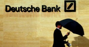 Deutsche Bank shares were down 4.8 per cent after a big drop in third-quarter profit. Photograph: Reuters