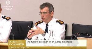 Garda Commissioner Drew Harris at the committee hearing on Wednesday