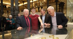 The group from Donegal, who discovered the gold hoard at Tullydonnell Lower, near Convoy, at  the official opening of the Tullydonnell  exhibition at the National Museum of Ireland. Photograph: Julien Behal/PA