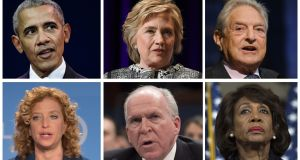 Figures who were sent suspect packages. From top: Barack Obama (L),  Hillary Clinton, George Soros. Bottom row: Democrat Debbie Wasserman Schultz (L), former CIA director John Brennan,  and  Democrat Maxine Waters. Photographs: Martin Bureau/Angela Weiss/Stan Honda/Mandel Ngan/Saul Loeb/Andrew Caballero-Reynolds/AFP/Getty Images