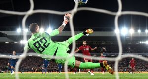 Liverpool's Mohamed Salah scores his second of the game from the penalty spot in the  Champions League Group C match against Red Star Belgrade at Anfield. Photograph: Michael Regan/Getty Images