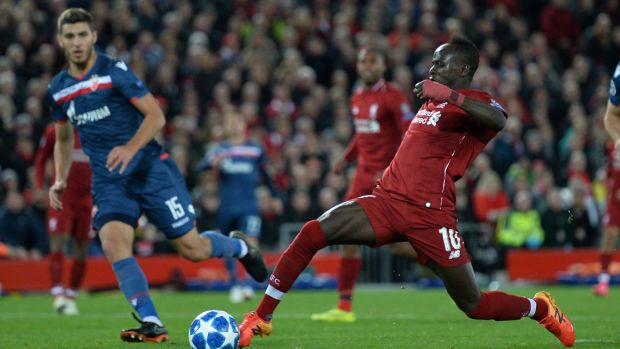 Liverpool's Sadio Mane scores their fourth goal in the Champions League Group C match against Red Star Belgrade at Anfield. Photograph: Peter Powell/Reuters