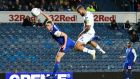 Kemar Roofe of Leeds United beats Matthew Pennington of Ipswich Town to the ball to head in the opening goal during the Sky Bet Championship match  at Elland Road. Photograph: George Wood/Getty Images