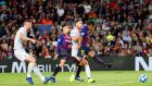 Rafinha  scores for Barcelona in the  Champions League Group B  match against Inter Milan  at the Nou Camp. Photograph: Alejandro Garcia/EPA