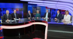Presidential candidates Gavin Duffy (third from left); Sinn Féin MEP Liadh Ní Riada; Peter Casey; Sean Gallagher and Senator Joan Freeman pictured alongside Matt Cooper and Ivan Yates (at far left) on Virgin Media One's The Tonight Show Presidential Election Special. Photograph: Brian McEvoy