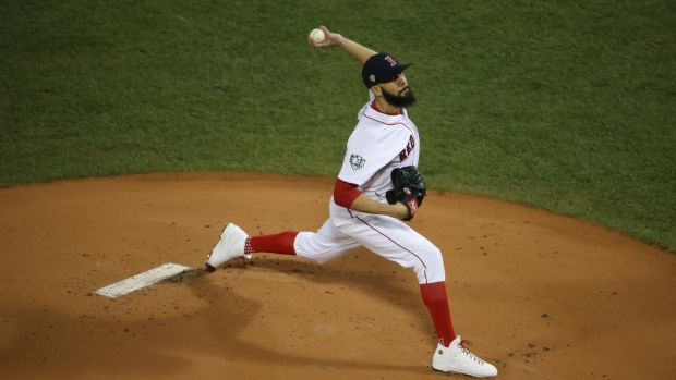 David Price of the Boston Red Sox pitches during Game 2 of the World Series. Photograph: Chang W Lee/NYT