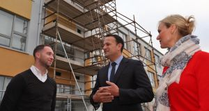 Taoiseach Leo Varadkar with Vivienne Bourke, principal of St. Luke's National School and Tim Stapleton, principal of Tyrrelstown Educate Together during a visit. Photograph: Colin Keegan/Collins Dublin.
