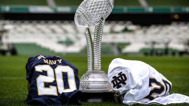 Navy will face Notre Dame for the Keough-Naughton trophy at the Aviva Stadium in 2020. Photograph: Billy Stickland/Inpho