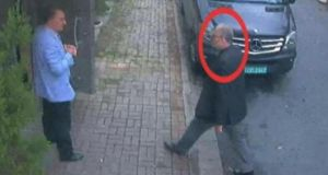 A still image taken from CCTV video of Saudi journalist Jamal Khashoggi  as he walks into Saudi Arabia's consulate in Istanbul  on October 2nd. Photograph: TRT World/Handout via Reuters