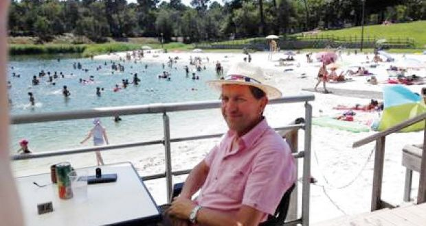 Bill Nelson on a terrace of the Mont de Marsan plage, a man-made lake 26km from Le Frêche.