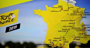 A  map showing the official route of the 2019 edition of the Tour de France. Photograph: Getty Images