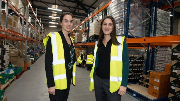 Foodcloud founders Aoibheann O'Brien and Iseult Ward in their Tallaght warehouse. Photograph: Dave Meehan