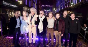 Actor Allen Leech (far right) with Queen's Brian May and Roger Taylor (3rd and 4th from left) and the stars of Bohemian Rhapsody in London's Carnaby Street on October 21st. Photograph: Eamonn M McCormack/Getty Images