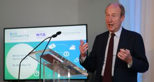 Minister for Transport Shane Ross  at an NTA briefing in July  to unveil a   public consultation report on  BusConnects.  Photograph: : Nick Bradshaw