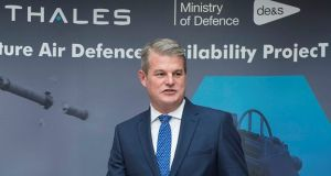 UK defence minister Stuart Andrew announces the contract award in Belfast