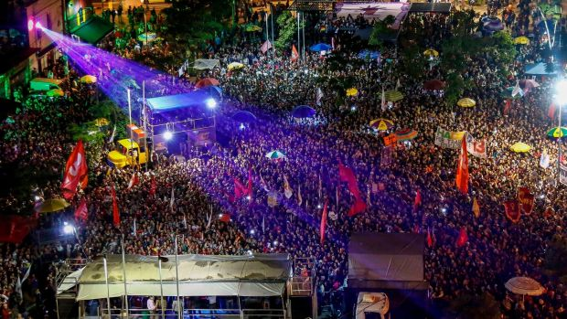 The Workers' Party's Fernando Haddad's campaign rally in Sao Paulo, Brazil. Photograph: Miguel Schincariol/AFP/Getty Images