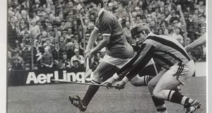 Tadhg Coakley in action for Cork against Kilkenny in the 1979 All-Ireland minor hurling final.
