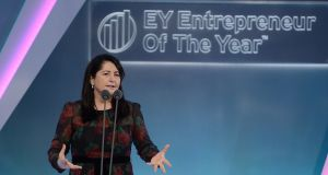 Dr Elaine Sullivan, Carrick Therapeutics, winner of the Emerging award at the EY Entrepreneur of the Year Awards, which took place in Citywest. Photograph: Dave Meehan for the Irish Times