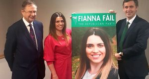 Eamon O'Cuiv TD and Senator Mark Daly with Sorcha McAnespy, who will run as a Fianna Fail candidate in next year's local council elections. Photograph: Fianna Fail/PA Wire