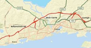 The  route  of the proposed €600 million Galway city ring road.