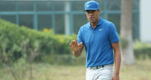 Tony Finau leads by three strokes after a second round of 67 in Shanghai. Photograph: Matthew Lewis/Getty