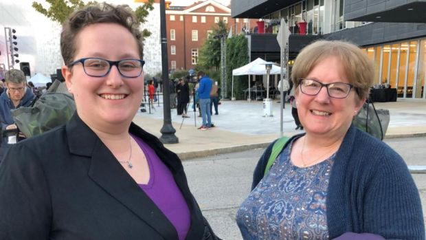 Democratic senator Claire McCaskill supporters Molly and Jane Thal outside the live TV debate in St Louis