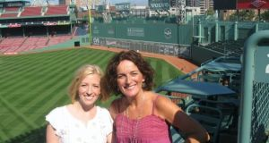 Yvonne Watterson (right) at Fenway Park in Boston: 'The ballpark offered a central hub for the Irish community, hosting in 1919 Eamon de Valera's Freedom Rally which drew almost 60,000 people.'