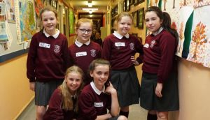Schoolgirls on Brexit: (back row) Mary Gallagher, Ciara McBride, Kayleigh Shields and Caitlin Patton; (front row) Cara Crummie and Aimee-Lee Caraher