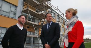 Taoiseach Leo Varadkar  with Vivienne Bourke, principal of St Luke's National School, and Tim Stapleton, principal of Tyrrelstown Educate Together, during a visit to the two schools which were closed this week over structrual concerns. Photograph:  Colin Keegan, Collins Dublin.