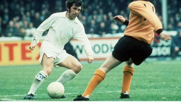 Johnny Giles in action for Leeds. Giles was widely recognised as one of the most skilful footballers of his era. Photograph: Allsport