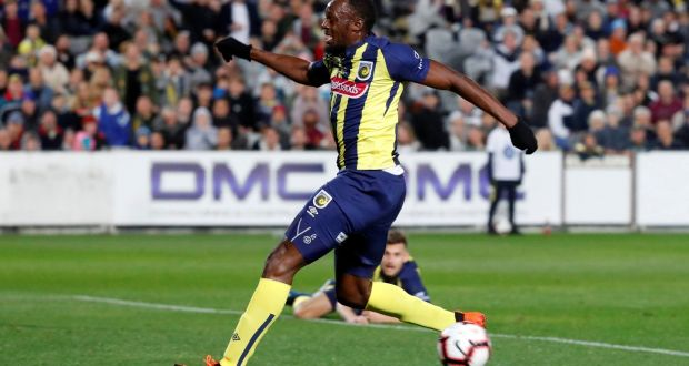 3f0f2681768 Usain Bolt in action for Central Coast Mariners against a Central Coast  Select side at Central