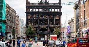The fire-damaged Primark store in Belfast.