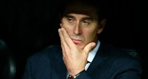 Julen Lopetegui: Real Madrid's coach has effectively been operating with one hand tied behind his back as the club's crisis intensifies. Photograph: Gonzalo Arroyo Moreno/Getty Images