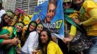 Supporters of Jair Bolsonaro, far-right presidential candidate. Photograph: Sergio Moraes/Reuters