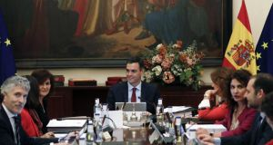 Spanish prime minister Pedro Sánchez chairs the weekly cabinet meeting  on Friday, in Seville. Photograph: José Manuel Vidal/EPA