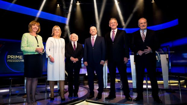 Presidential candidates Senator Joan Freeman, MEP Liadh Ni Riada, current President Michael D Higgins,and entrepreneurs Sean Gallagher, Peter Casey and Gavin Duffy, pictured during the final TV debate this week. Photograph: Tom Honan/The Irish Times.