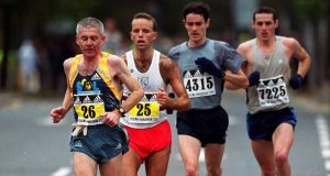 Irish competitors taking part in the Dublin Marathon of 2001, from left, John Griffin, Pauric McKinney, Ian O'Riordan and Gary Patrick Crossan. Photograph:  Ray McManus/Sportsfile