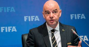 Fifa president  Gianni Infantino  during a press conference on Friday, after a Fifa council meeting  in Kigali. Photograph: Cyril Ndegeya/AFP/Getty Images
