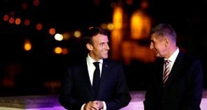 French president Emmanuel Macron and Czech prime minister Andrej Babis in Prague on Friday. Photograph: David W Cerny/Reuters