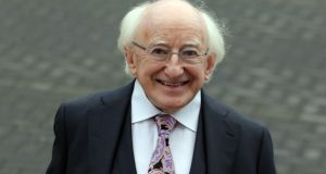 President Michael D Higgins  arriving to vote on Friday at St Mary's Hospital in the Phoenix Park. Photograph: Collins