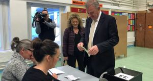 Presidential candidate Peter Casey casts his vote at the polling station in Greencastle National School, Co Donegal. Photograph: Rebecca Black/PA Wire