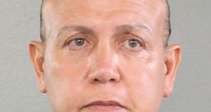 Undated photograph of Cesar Sayoc arrested on allegations  he was the person that mailed pipe bomb devices that targeted critics of  Donald Trump.  Photograph: Broward County Sheriff's Office/Getty Images)