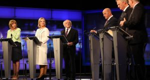 Presidential election candidates at the RTÉ Prime Time Presidential Debate; the final all-candidate TV debate of the campaign on Tuesday October  23rd. From left:  Joan Freeman; Liadh Ní Riada, Michael D Higgins, Sean Gallagher, Peter Casey and Gavin Duffy. Photograph: Julien Behal