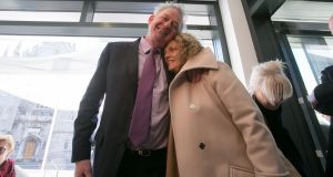 Peter Casey and his wife Helen at Dublin Castle, where the election result will be announced. Photograph: Gareth Chaney/Collins