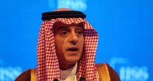 Saudi Arabia's foreign minister Adel bin Ahmed Al-Jubeir speaks during the second day of the 14th Manama dialogue, Security Summit in Manama, Bahrain. Photograph: Hamad l Mohammed/Reuters