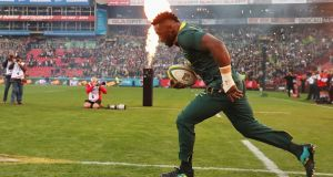 Siya Kolisi became the first black player to lead South Africa out for a full test. Photograph: David Rogers/Getty Images