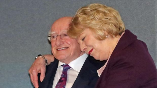 Michael D Higgins is hugged by his wife Sabina at Dublin Castle as he is announced as the winner of Ireland's presidential election. Photograph: Niall Carson/PA Wire