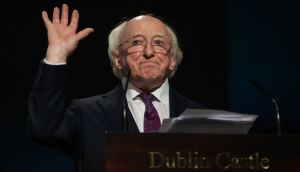 President Michael D Higgins makes his victory speech afterhis re-election was announced at Dublin Castle.  Photograph: Niall Carson/PA Wire
